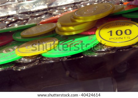 Detail view of the chips of a gambling machine - stock photo