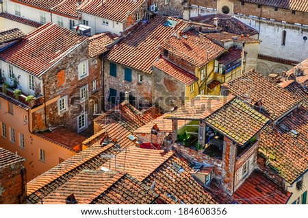 Detail view of traditional Italian town roofs and houses, Lucca, Italy - stock photo