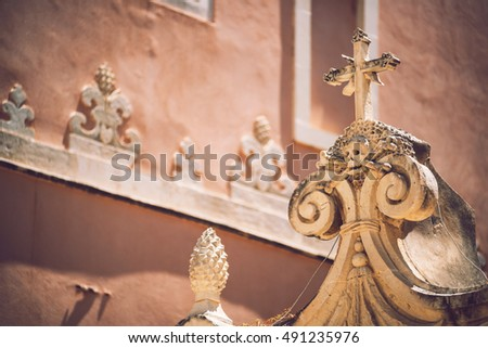 Detail view of typical urban sicilian decoration in Sicily, Italy. Texture background