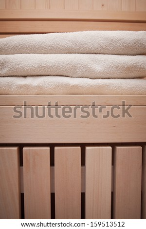 Detail  white towels in a sauna  - stock photo