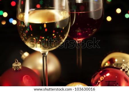 Detail wine glasses ready for celebrating/Glasses of wine - stock photo