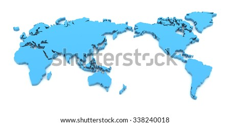 Detail world map asia centre 3 d stock illustration 338240018 detail world map with asia at the centre 3d render white background gumiabroncs Images
