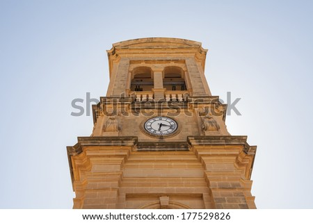 detail Xewkija church dedicated to St John the Baptist, in Gozo, Malta. - stock photo