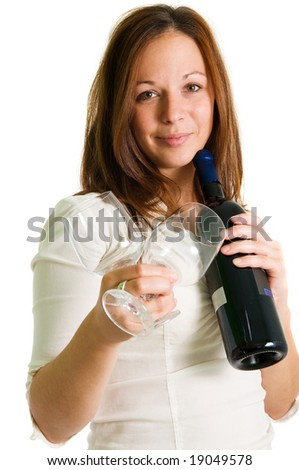 detail young girl holding two glasses and bottle of red wine isolated on the white