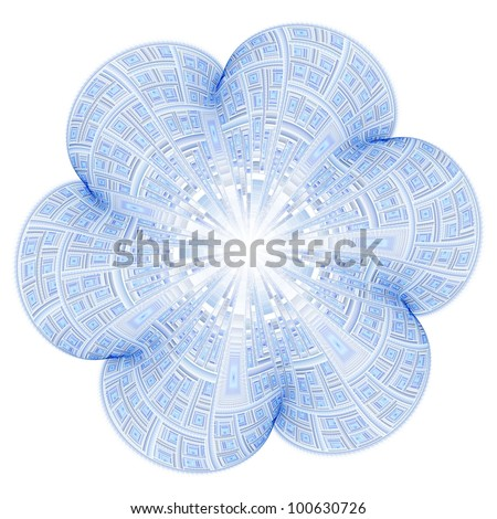 Detailed abstract blue flower on white background