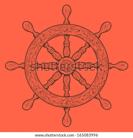 Detailed brown outlines nautical rudder isolated on orange background. Ship element. Raster copy. - stock photo