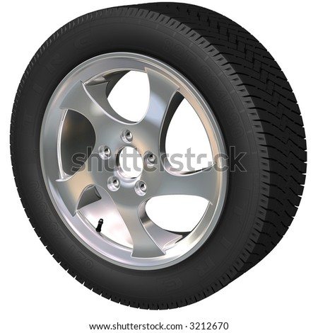 Detailed car wheel and tire (3d render)