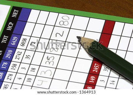 detailed close up of a golf scorecard - stock photo