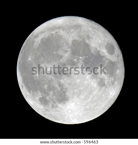 Detailed closeup of a full moon showing craters - stock photo