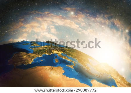 Detailed colorful Earth, highly detailed planet earth in the morning Elements of this image furnished by NASA - stock photo