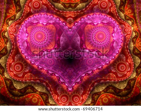 Detailed colorful fractal heart, Valentine's day motive - stock photo