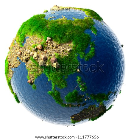 Detailed concept nature of the Earth in miniature - sandy deserts, rocky mountains, grass and the ocean water is based on real physical data. Isolated on white - stock photo