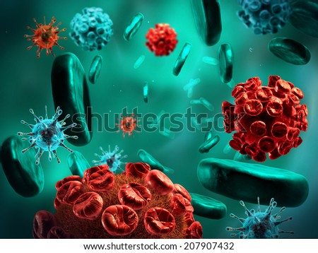 Detailed 3d illustration of virus, bacteria cells infecting human body. - stock photo