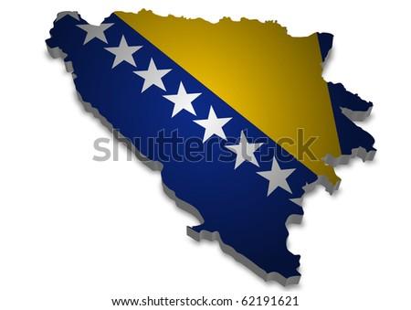 detailed 3d map of bosnia herzegovina with flag - stock photo