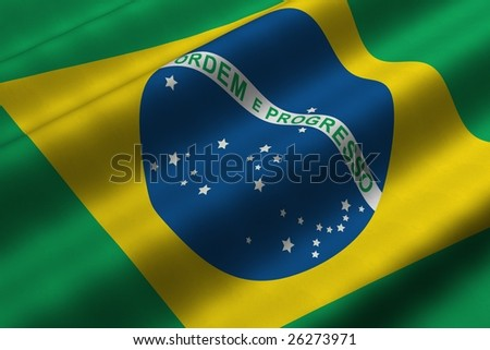 Detailed 3d rendering closeup of the flag of Brazil.  Flag has a detailed realistic fabric texture.
