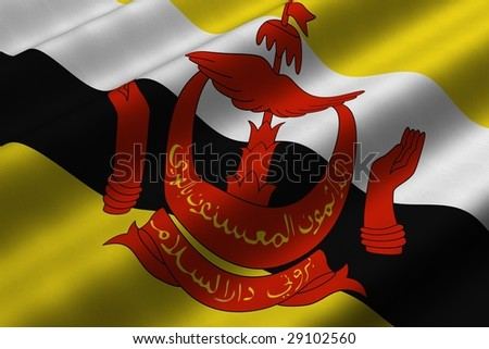 Detailed 3d rendering closeup of the flag of Brunei Darussalam.  Flag has a detailed realistic fabric texture. - stock photo