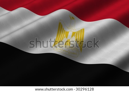 Detailed 3d rendering closeup of the flag of Egypt.  Flag has a detailed realistic fabric texture. - stock photo