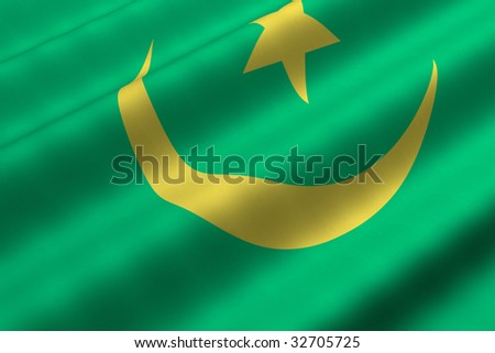 Detailed 3d rendering closeup of the flag of Mauritania.  Flag has a detailed realistic fabric texture.