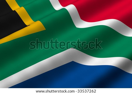 Detailed 3d rendering closeup of the flag of South Africa.  Flag has a detailed realistic fabric texture.