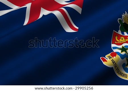 Detailed 3d rendering closeup of the flag of the Cayman Islands.  Flag has a detailed realistic fabric texture. - stock photo