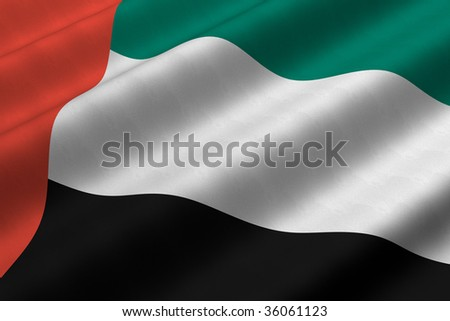 Detailed 3d rendering closeup of the flag of the United Arab Emirates.  Flag has a detailed realistic fabric texture. - stock photo