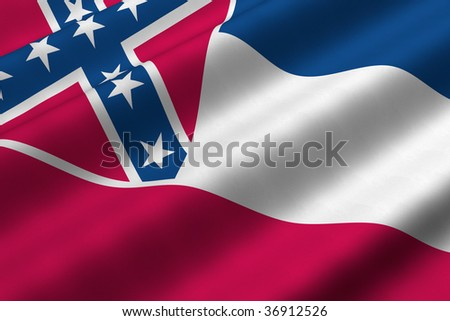 Detailed 3d rendering closeup of the flag of the US State of Mississippi.  Flag has a detailed realistic fabric texture. - stock photo