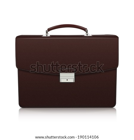 Detailed dark brown briefcase with leather texture isolated on white background. Raster copy.