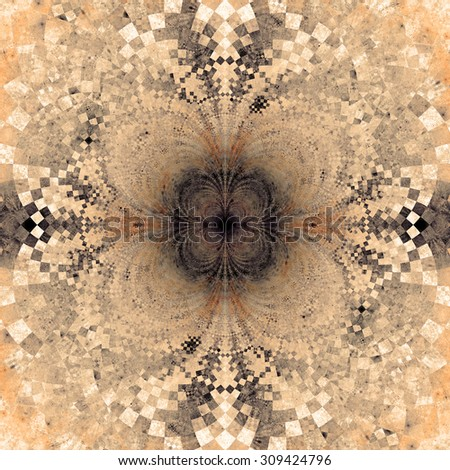 Detailed decorative star (flower) with an extremely detailed decorative sharp crystal like pattern coming out of the center and interconnecting arches, all in pastel sepia tinted purple,orange