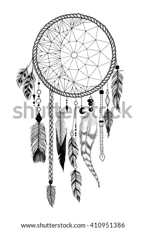 "Detailed dreamcatcher with ""moon"" ornament. Raster."