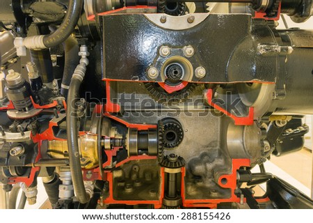 detailed exposition of the old piston aircraft engine - stock photo