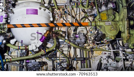 Detailed exposure of a turbine jet engine. - stock photo