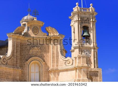 Detailed facade of church at Malta - stock photo