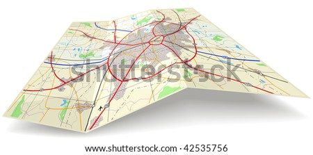 Detailed folding map with no names - stock photo