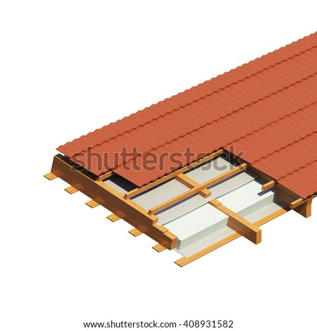 detailed fragment of a roof of the house on a white background. a heater and a waterproofing in roof beams. 3D illustration. - stock photo
