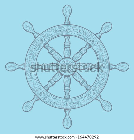 Detailed grey outlines nautical rudder isolated on blue background. Ship element. Raster copy. - stock photo