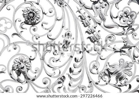 Detailed grey wrought ornate fence isolated on white - stock photo