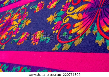 detailed handmade easter carpets made from colored sawdust fruits and flowers in antigua guatemala - stock photo