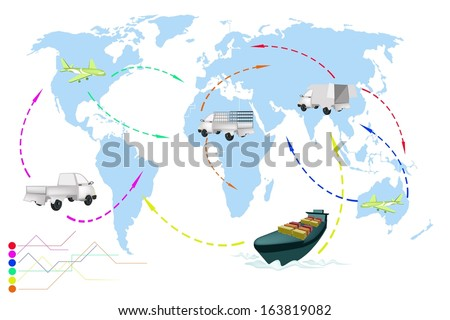 Detailed Illustration Flight Paths of Transportation and Logistics On A Global Scale.  - stock photo