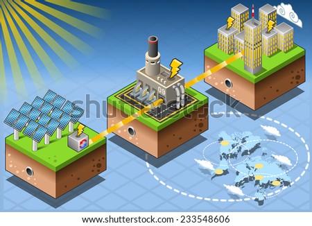 Detailed illustration of a Isometric Infographic Energy Harvesting Diagram - stock photo