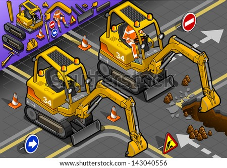 detailed illustration of a Isometric Mini Excavator with Man at Work in front view - stock photo