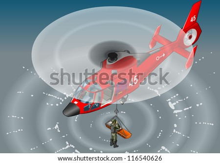Detailed illustration of a isometric red helicopter in flight in rescue - stock photo