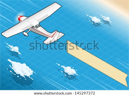 Detailed illustration of a Isometric White Plane in Flight with Aerial Banner in Rear View - stock photo