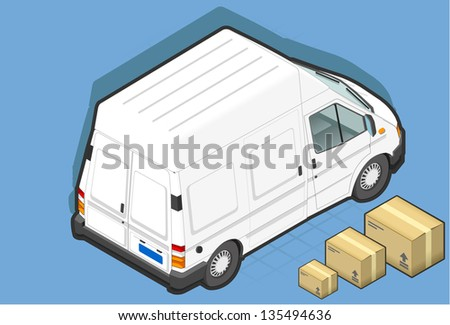 detailed illustration of a isometric white van in rear view - stock photo