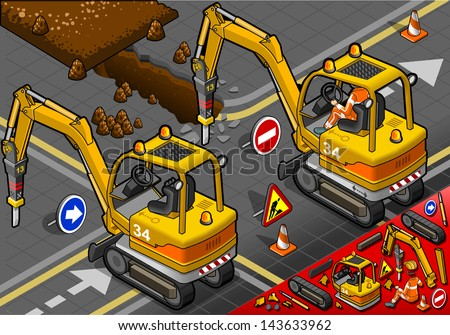 detailed illustration of a isometric worker piloting mini chisel excavator in rear view - stock photo