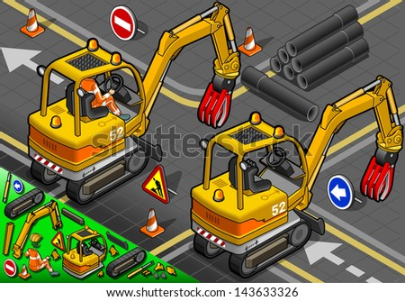 detailed illustration of a Isometric Worker Piloting Mini Mechanical Arm Excavator in Rear View - stock photo