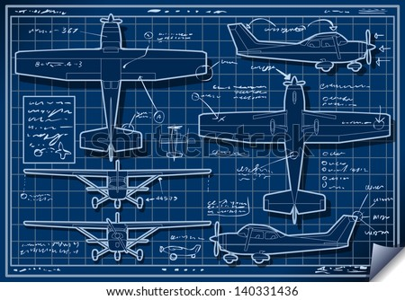 Detailed illustration of a Plane Blue Project in Five Orthogonal views - stock photo