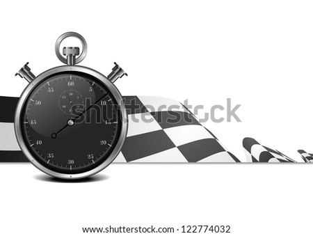 detailed illustration of a racing flag with stop watch - stock photo