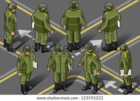 Detailed illustration of a set of military man in height position