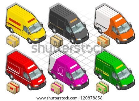 detailed illustration of a six isometric delivery van - stock photo