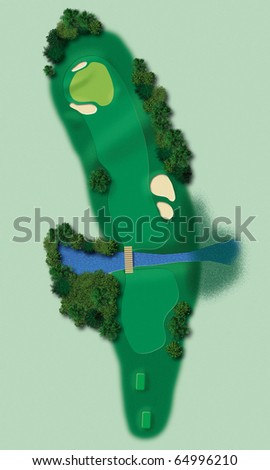 Detailed illustration showing all relevant elements of a golf lane in aerial view - stock photo